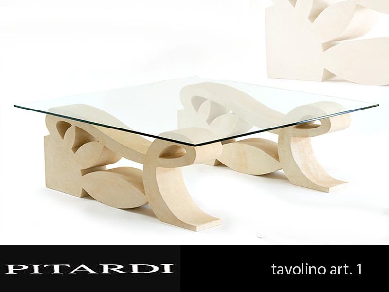 Tavolini Da Salotto In Pietra Leccese.Tavolo 1 Pietra Leccese E Piano Cristallo