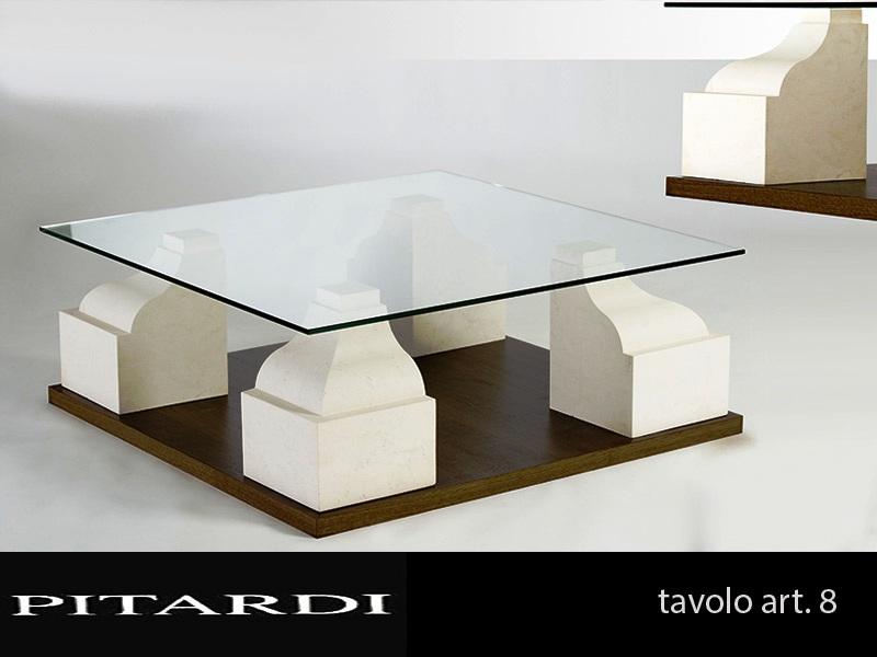 Base Per Tavolo Cristallo.Tavolo 8 Base Legno Pietra E Piano Cristallo